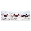 SENIC Horses on Plains 3-Panel Canvas on Wood Frame, 60 x 20-inch