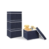 Non-Woven Fabric Heavy-Duty Storage Organizer, 4-Pack Dark Blue