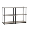 Turn-N-Tube 3-Tier Double Size Storage Display Rack, French Oak Grey/Black