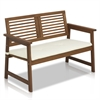 Tioman Hardwood Outdoor Bench in Teak Oil with White Cushion