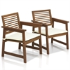 Tioman Teak Hardwood Outdoor Armchair with Cushion, Set of Two
