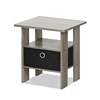 End Table Bedroom Night Stand w/Bin Drawer, French Oak Grey/Black