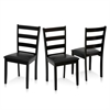 Cos Simply Solid Wood Dining Chairs Set of 3, Espresso (3 Chairs)