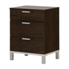 South Shore Flexible Nightstand with Charging Station and Drawers, Brown Oak