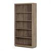South Shore Kanji 5-Shelf Bookcase, Weathered Oak