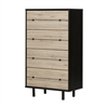 South Shore Morice Mid-Century Modern  4-Drawer Chest, Ebony and Rustic Oak