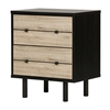 South Shore Morice Mid-Century Modern 2-Drawer Nightstand, Ebony and Rustic Oak