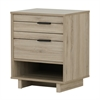 South Shore Fynn Nightstand with Drawers and Cord Catcher, Rustic Oak