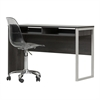 South Shore Interface Gray Oak Interface Desk with Clear Smoked Gray Office Chair With Wheels