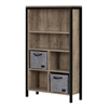 South Shore Munich Weathered Oak and Matte Black 6-shelf Bookcase with Cubes and 2 Large Woven Felt Baskets