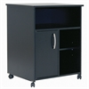 South Shore Axess Microwave Cart with Storage on Wheels, Pure Black