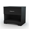 South Shore Step One 1-Drawer Nightstand, Pure Black