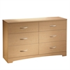 South Shore Step One 6-Drawer Double Dresser, Natural Maple