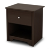 South Shore Vito 1-Drawer Nightstand, Chocolate