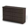 South Shore Summer Breeze 6-Drawer Double Dresser, Chocolate