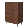 South Shore Olly Mid-Century Modern 5-Drawer Chest, Brown Walnut
