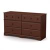 South Shore Little Treasures 6-Drawer Double Dresser, Royal Cherry