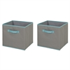 South Shore Crea Gray and Turquoise Fabric Storage Bin, 2 pack, Large Size