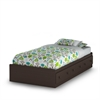 South Shore Summer Breeze Twin Mates Bed (39'') with 3 Drawers, Chocolate