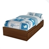 South Shore Willow Twin Mates Bed (39'') with 3 Drawers, Sumptuous Cherry