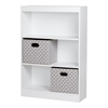 South Shore Axess Pure White 3-Shelf Bookcase with 2 Fabric Storage Baskets