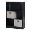 South Shore Axess Pure Black 3-Shelf Bookcase with 2 Fabric Storage Baskets