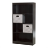 South Shore Axess Chocolate 4-Shelf Bookcase with 2 Fabric Storage Baskets