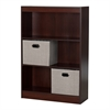 South Shore Axess Royal Cherry 3-Shelf Bookcase with 2 Fabric Storage Baskets