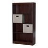 South Shore Axess Royal Cherry 4-Shelf Bookcase with 2 Fabric Storage Baskets