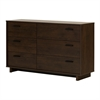 South Shore Fynn 6-Drawer Double Dresser, Brown Oak