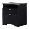 South Shore Reevo Nightstand with Drawers and Cord Catcher, Black Onyx