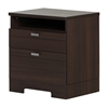 South Shore Reevo Nightstand with Drawers and Cord Catcher, Matte Brown