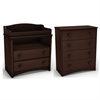 South Shore Angel Changing Table and 4-Drawer Chest Set, Espresso