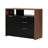South Shore Tasko Storage Unit with File Drawer, Brown Walnut and Pure Black