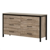 South Shore Munich 6-Drawer Double Dresser, Weathered Oak and Matte Black