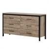 South Shore Munich 6-Drawer Double Dresser, Weathered Oak and Matte Black