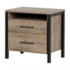 South Shore Munich 2-Drawer Nightstand, Weathered Oak and Matte Black