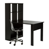 South Shore Annexe Pure Black Work Table and Storage Unit Combo with Clear Office Chair