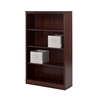 South Shore Morgan Royal Cherry 4-Shelf Bookcase with 2 Canvas Storage Baskets