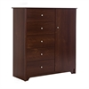 South Shore Vito Door Chest with 5 Drawers, Sumptuous Cherry