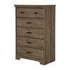 South Shore Versa 5-Drawer Chest, Weathered Oak