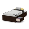 South Shore Little Smileys Twin Mates Bed (39'') with 3 Drawers, Espresso