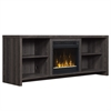 "Shelter Cove TV Stand for TVs up to 65"" with Electric Fireplace, Black Walnut"