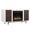 "Ridgeville Two-Tone TV Stand for TVs up to 55"" with Electric Fireplace, High Gloss White / Midnight Cherry"