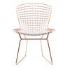 Bertoria Rosegold Wire Dining Chair White Seat, set of 4