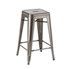 "Tolix Style Counter Stool Gun Metal 26"", set of 4"