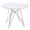 """Circular Dining Table White Wire Legs 47"""" Top"""
