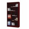 "Contemporary 72""H wood veneer bookcase, Mahogany"