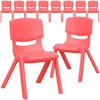 10 Pk. Red Plastic Stackable School Chair with 12'' Seat Height