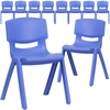 10 Pk. Blue Plastic Stackable School Chair with 13.25'' Seat Height